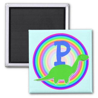 Letter P Green Dinosaur Diplodocus Fridge Magnet
