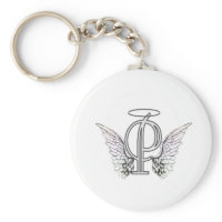Letter P Initial Monogram with Angel Wings & Halo Keychain