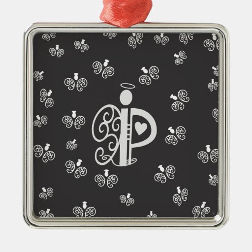Letter p initial monogram with angels metal ornament zazzle