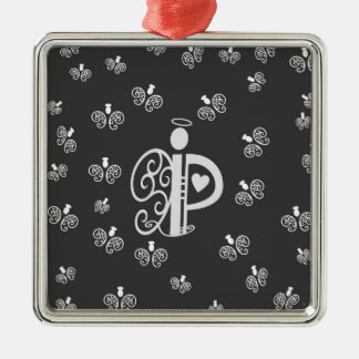 Letter P Initial Monogram with Angels Ornament