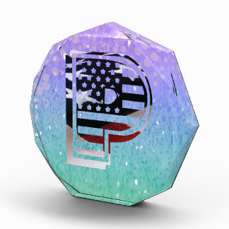 Letter P Monogram Initial Patriotic USA Flag Award