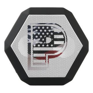 Letter P Monogram Initial Patriotic USA Flag Black Bluetooth Speaker
