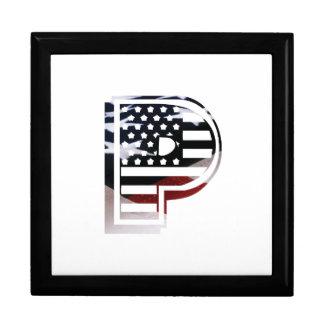 Letter P Monogram Initial Patriotic USA Flag Gift Box