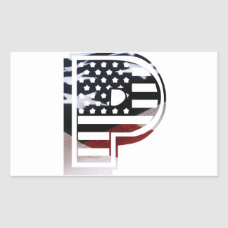 Letter P Monogram Initial Patriotic USA Flag Rectangular Sticker