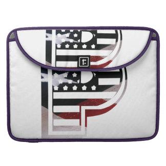 Letter P Monogram Initial Patriotic USA Flag Sleeve For MacBooks
