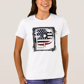 Letter P Monogram Initial Patriotic USA Flag T-Shirt