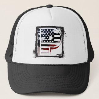 Letter P Monogram Initial Patriotic USA Flag Trucker Hat