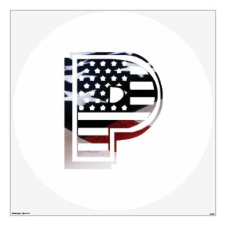 Letter P Monogram Initial Patriotic USA Flag Wall Sticker