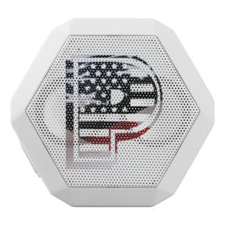 Letter P Monogram Initial Patriotic USA Flag White Bluetooth Speaker