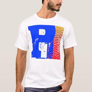 Letter P Monogram Shatter Blue Red Orange T-Shirt