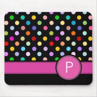Letter P personal monogram rainbow polka dot Mouse Pad