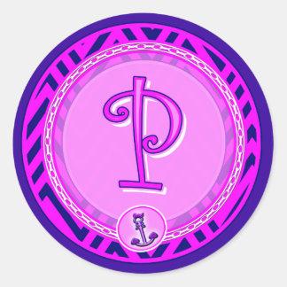 Letter 'P' Pink Nautical Chevron w/ Anchor  - Classic Round Sticker