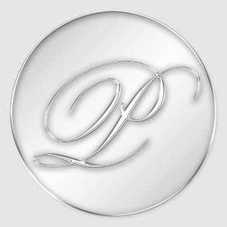 Letter P script initial faux silver monogram favor Classic Round Sticker