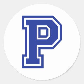 Letter P Round Sticker