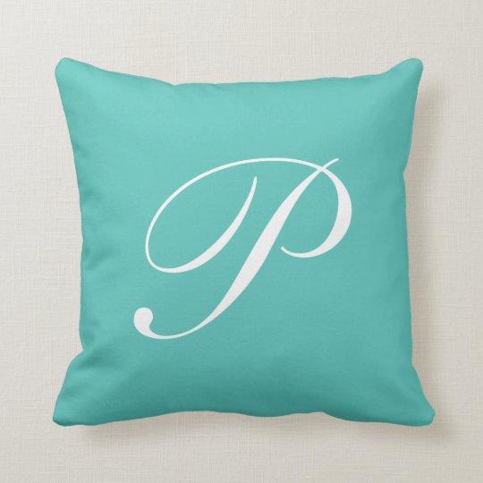 Letter P Turquoise Monogram Pillow Zazzle Com