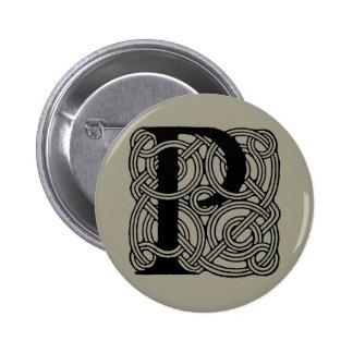 Letter P Vintage Celtic Knot Monogram Pinback Button