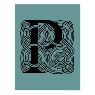 Letter P Vintage Celtic Knot Monogram Postcard