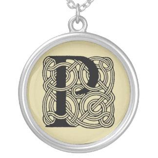 Letter P Vintage Celtic Knot Monogram Silver Plated Necklace