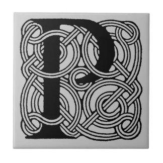 Letter P Vintage Celtic Knot Monogram Tile