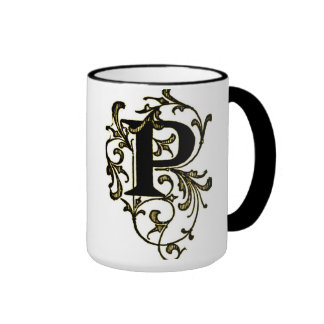 Letter 'P' Wrapped in Golden Vines - Mug