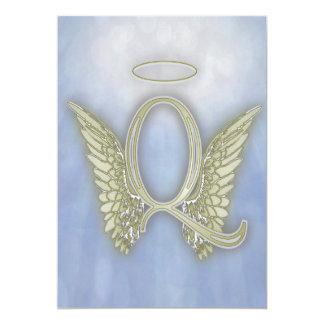 Letter Q Angel Monogram Card