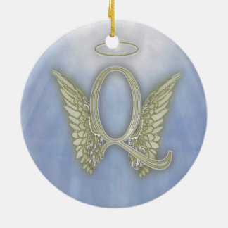 Letter Q Angel Monogram Ceramic Ornament