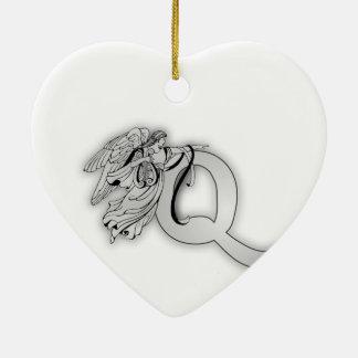 Letter Q Angel Monogram Initial Ceramic Ornament