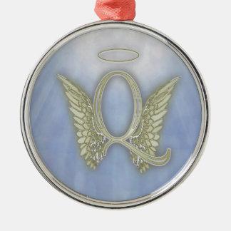 Letter Q Angel Monogram Metal Ornament