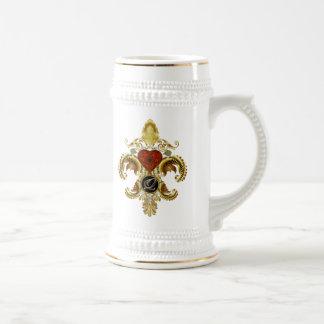 """Letter """"Q"""" Double Monogram Fleur-de-lis  Style 1 Mug"""