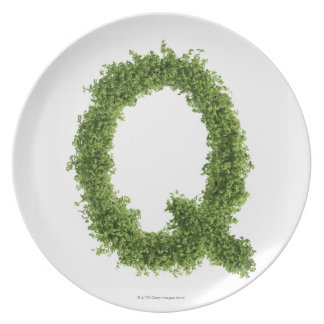 Letter 'Q' in cress on white background, Dinner Plate