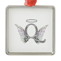 Letter Q Initial Monogram with Angel Wings & Halo Christmas Tree Ornament
