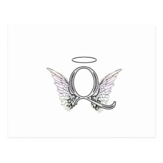 Letter Q Initial Monogram with Angel Wings & Halo Postcard