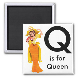 """Letter Q"" is for Queen Children's Magnet"