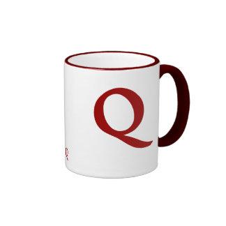 """""""Letter Q""""  """"Matt Antique Bold"""" Ringer Mug"""