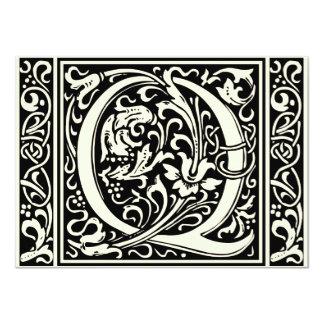 Letter Q Medieval Monogram Vintage Initial Card