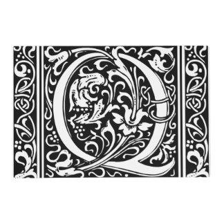 Letter Q Medieval Monogram Vintage Initial Placemat