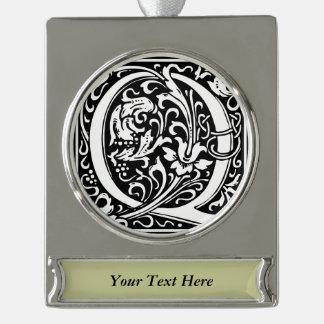 Letter Q Medieval Monogram Vintage Initial Silver Plated Banner Ornament