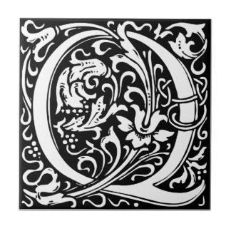 Letter Q Medieval Monogram Vintage Initial Tile