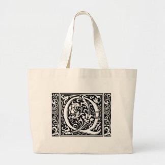 Letter Q Medieval Monogram Wide Vintage Initial Large Tote Bag