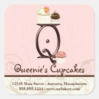 Letter Q Monogram Cupcake Logo Business Stickers