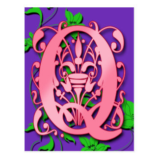Letter Q Monogram Initial on Pink Purple Cards