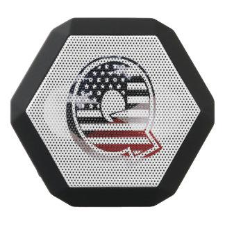 Letter Q Monogram Initial Patriotic USA Flag Black Bluetooth Speaker