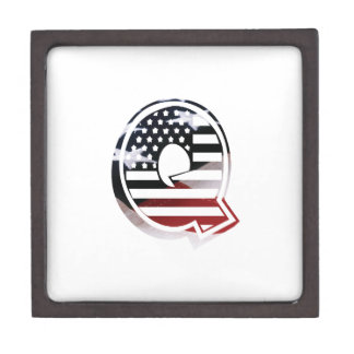 Letter Q Monogram Initial Patriotic USA Flag Gift Box