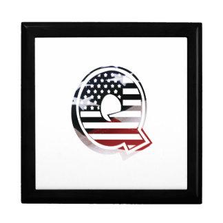 Letter Q Monogram Initial Patriotic USA Flag Keepsake Box