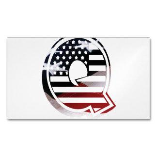 Letter Q Monogram Initial Patriotic USA Flag Magnetic Business Card