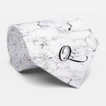 Letter Q monogram Marble texture Neck Tie