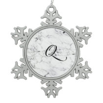 Letter Q monogram Marble texture Snowflake Pewter Christmas Ornament