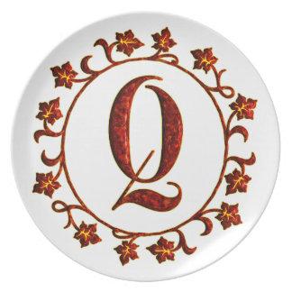 Letter Q Monogram Red Leaves Plate