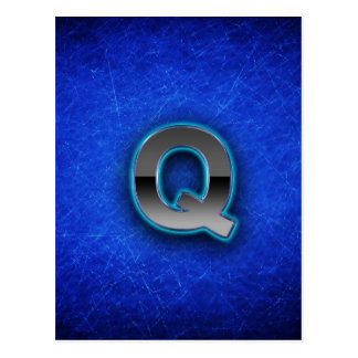 Letter Q - neon blue edition Postcard