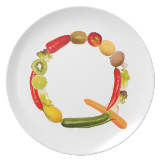 letter Q of fruits and vegetables Flache Teller